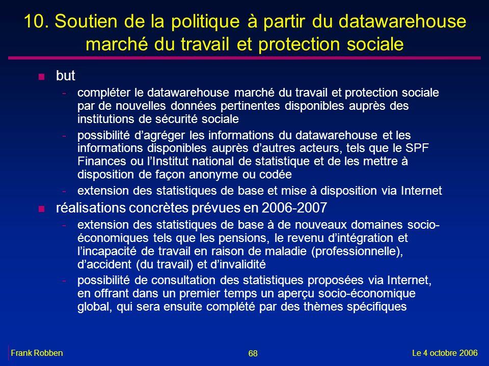 68 Le 4 octobre 2006Frank Robben 10. Soutien de la politique à partir du datawarehouse marché du travail et protection sociale n but -compléter le dat