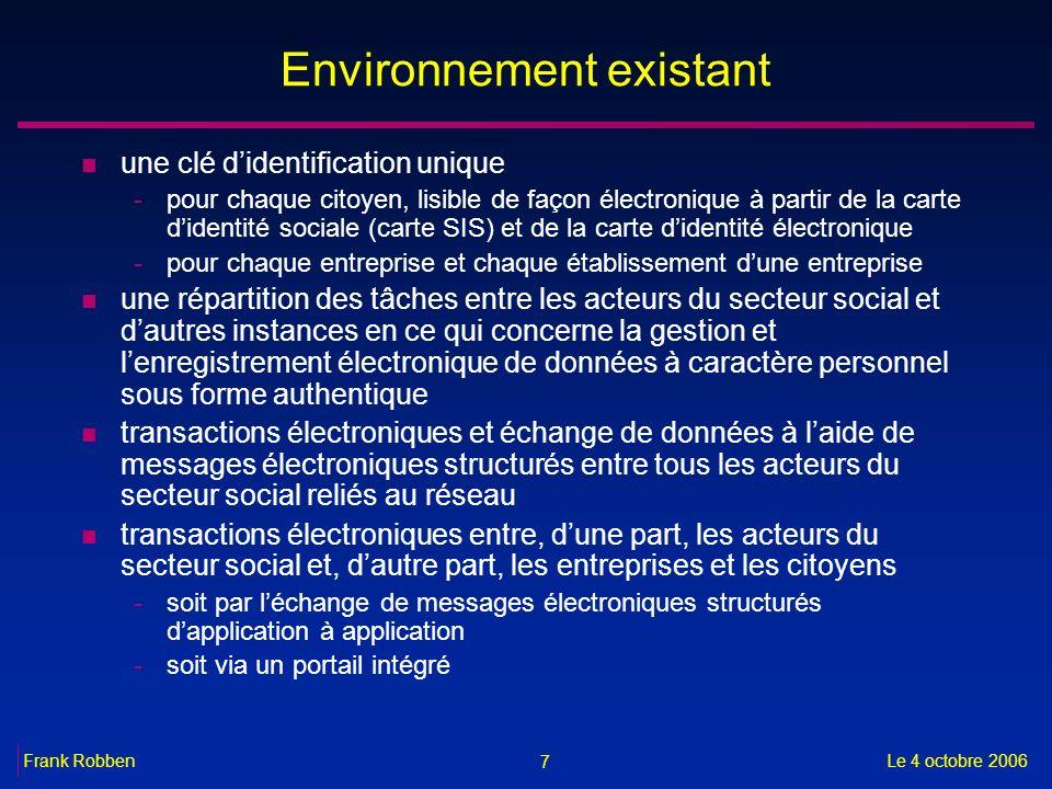 7 Le 4 octobre 2006Frank Robben Environnement existant n une clé didentification unique -pour chaque citoyen, lisible de façon électronique à partir d
