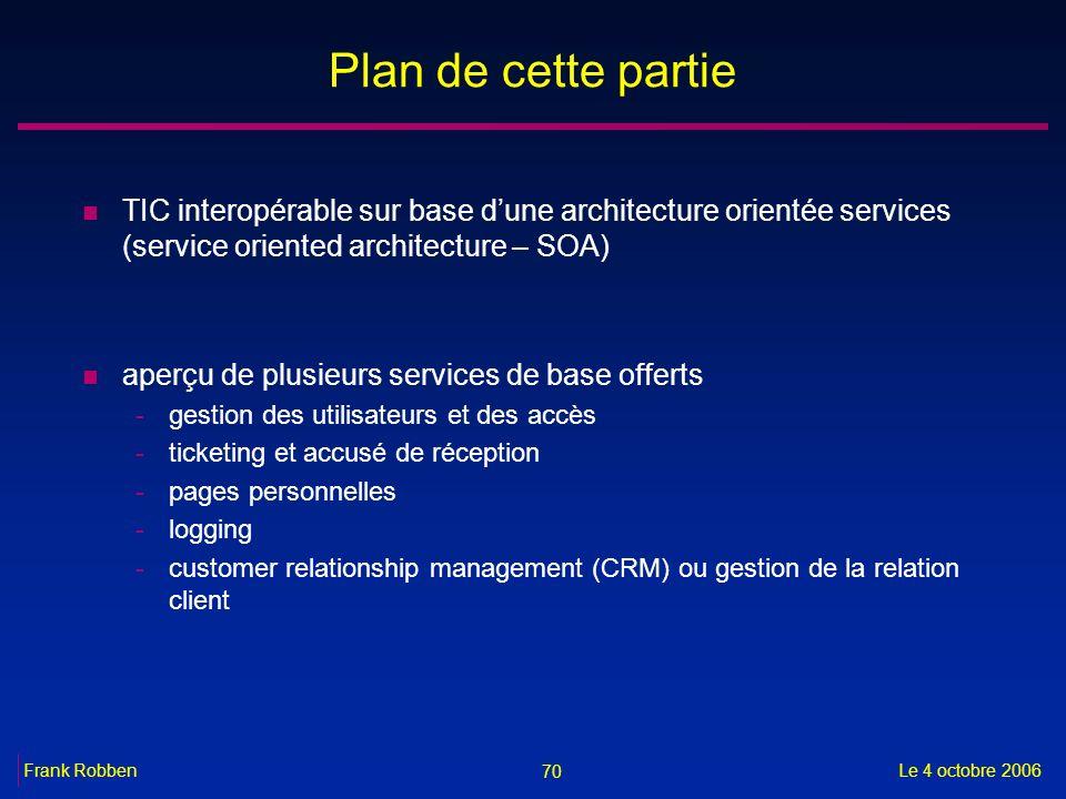 70 Le 4 octobre 2006Frank Robben Plan de cette partie n TIC interopérable sur base dune architecture orientée services (service oriented architecture