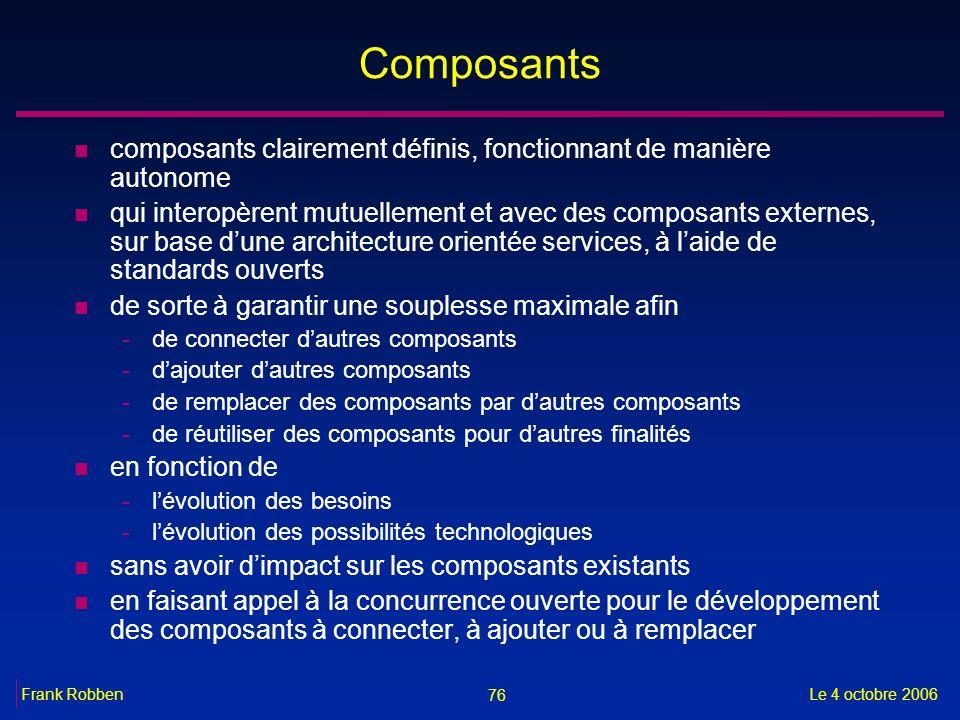 76 Le 4 octobre 2006Frank Robben Composants n composants clairement définis, fonctionnant de manière autonome n qui interopèrent mutuellement et avec