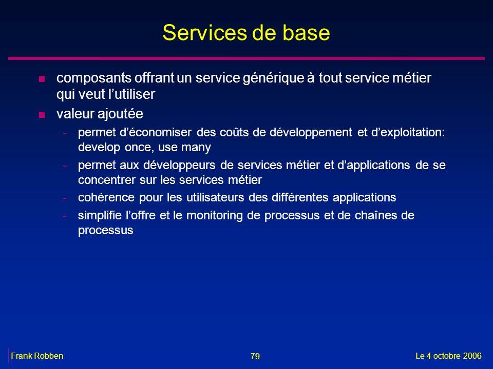 79 Le 4 octobre 2006Frank Robben Services de base n composants offrant un service générique à tout service métier qui veut lutiliser n valeur ajoutée