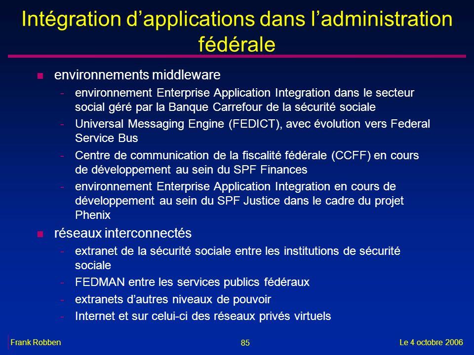 85 Le 4 octobre 2006Frank Robben Intégration dapplications dans ladministration fédérale n environnements middleware -environnement Enterprise Applica