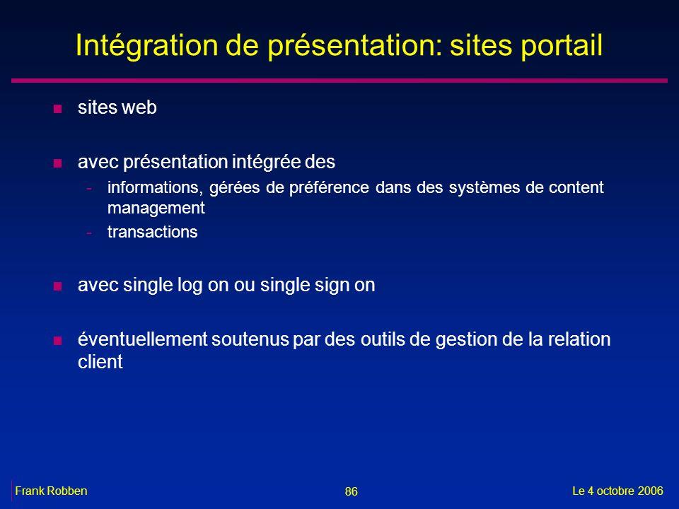 86 Le 4 octobre 2006Frank Robben Intégration de présentation: sites portail n sites web n avec présentation intégrée des -informations, gérées de préf