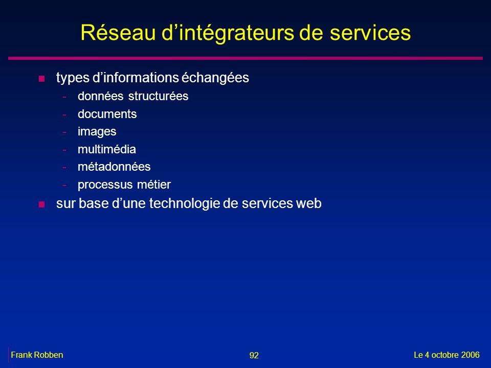 92 Le 4 octobre 2006Frank Robben Réseau dintégrateurs de services n types dinformations échangées -données structurées -documents -images -multimédia