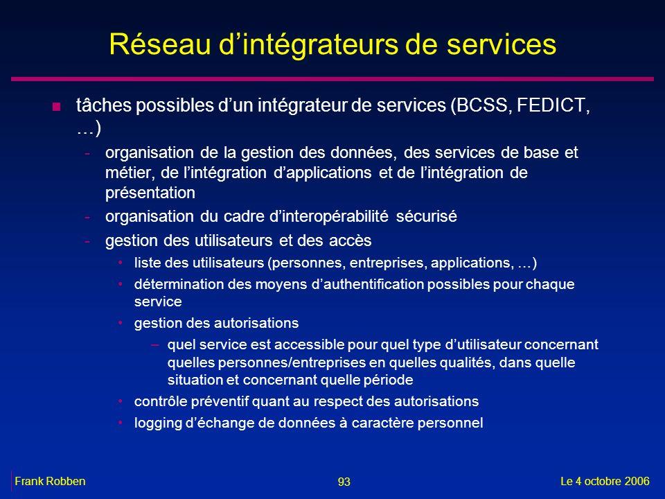93 Le 4 octobre 2006Frank Robben Réseau dintégrateurs de services n tâches possibles dun intégrateur de services (BCSS, FEDICT, …) -organisation de la