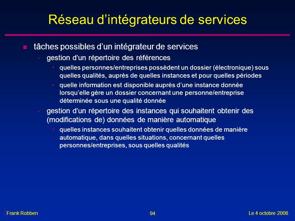 94 Le 4 octobre 2006Frank Robben Réseau dintégrateurs de services n tâches possibles dun intégrateur de services -gestion dun répertoire des référence