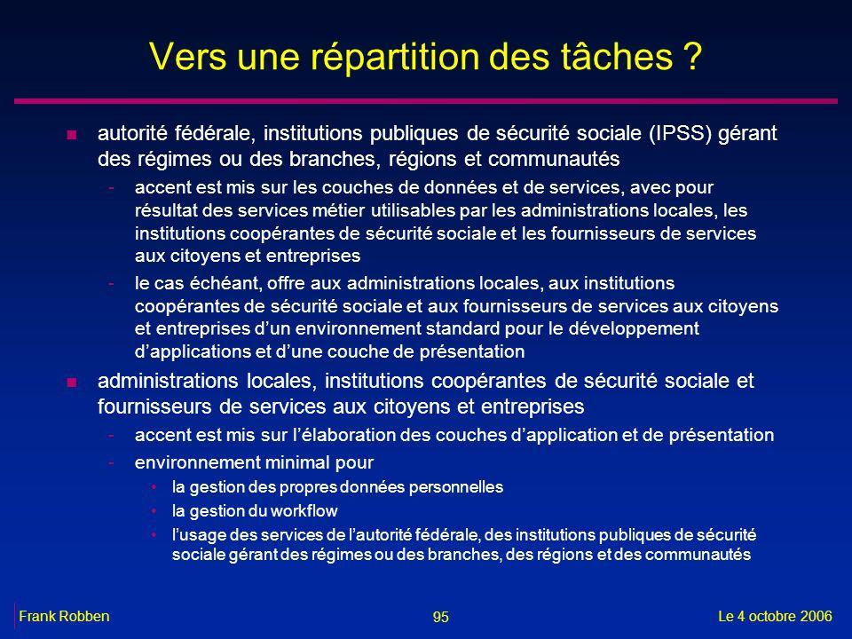 95 Le 4 octobre 2006Frank Robben Vers une répartition des tâches ? n autorité fédérale, institutions publiques de sécurité sociale (IPSS) gérant des r