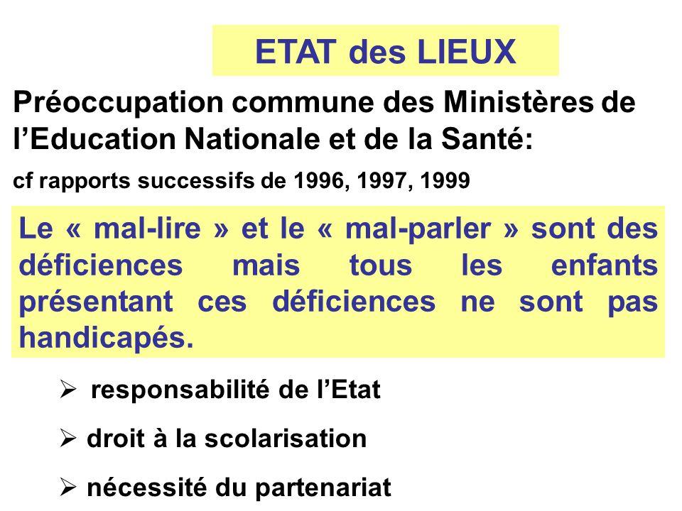 ETAT des LIEUX Préoccupation commune des Ministères de lEducation Nationale et de la Santé: cf rapports successifs de 1996, 1997, 1999 Le « mal-lire »