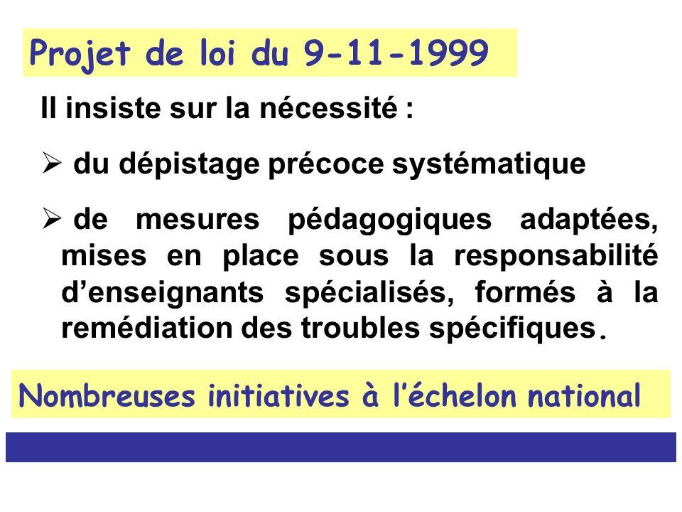 Projet de loi du 9-11-1999 Il insiste sur la nécessité : du dépistage précoce systématique de mesures pédagogiques adaptées, mises en place sous la re
