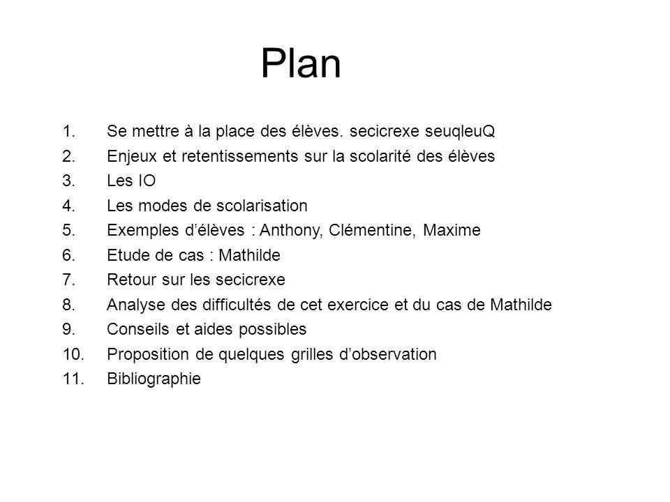 Plan 1.Se mettre à la place des élèves. secicrexe seuqleuQ 2.Enjeux et retentissements sur la scolarité des élèves 3.Les IO 4.Les modes de scolarisati