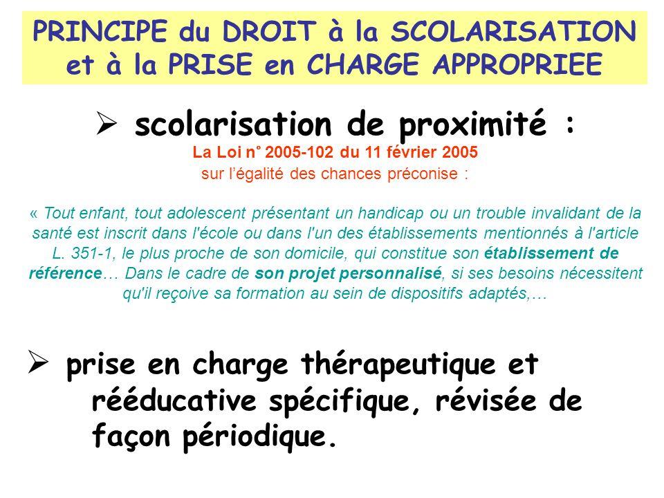 PRINCIPE du DROIT à la SCOLARISATION et à la PRISE en CHARGE APPROPRIEE scolarisation de proximité : La Loi n° 2005-102 du 11 février 2005 sur légalit