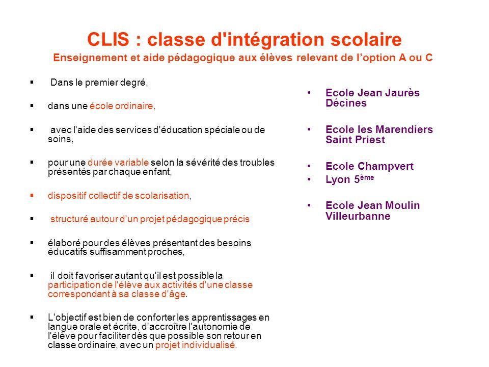 CLIS : classe d'intégration scolaire Enseignement et aide pédagogique aux élèves relevant de loption A ou C Dans le premier degré, dans une école ordi