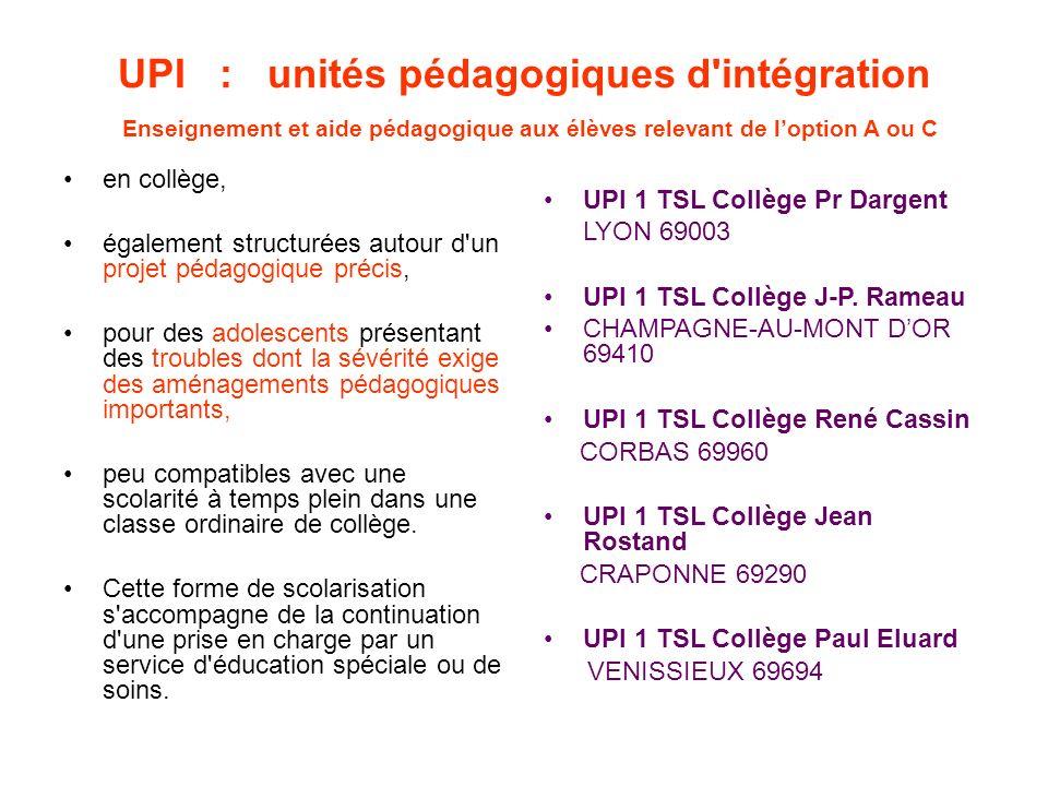 UPI : unités pédagogiques d'intégration Enseignement et aide pédagogique aux élèves relevant de loption A ou C en collège, également structurées autou