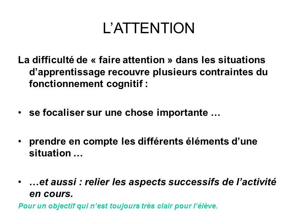 LATTENTION La difficulté de « faire attention » dans les situations dapprentissage recouvre plusieurs contraintes du fonctionnement cognitif : se foca
