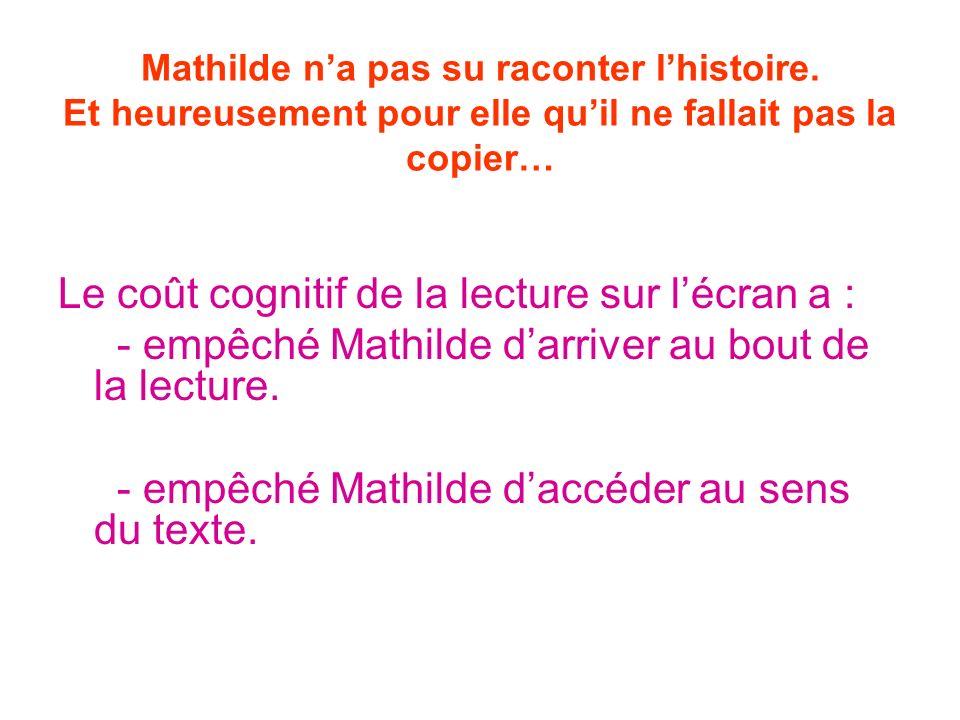 Mathilde na pas su raconter lhistoire. Et heureusement pour elle quil ne fallait pas la copier… Le coût cognitif de la lecture sur lécran a : - empêch