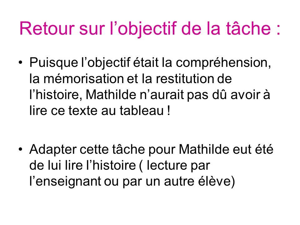 Retour sur lobjectif de la tâche : Puisque lobjectif était la compréhension, la mémorisation et la restitution de lhistoire, Mathilde naurait pas dû a