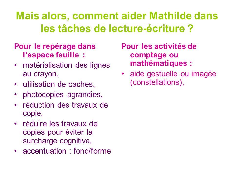 Mais alors, comment aider Mathilde dans les tâches de lecture-écriture ? Pour le repérage dans lespace feuille : matérialisation des lignes au crayon,