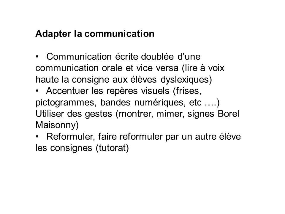 Adapter la communication Communication écrite doublée dune communication orale et vice versa (lire à voix haute la consigne aux élèves dyslexiques) Ac