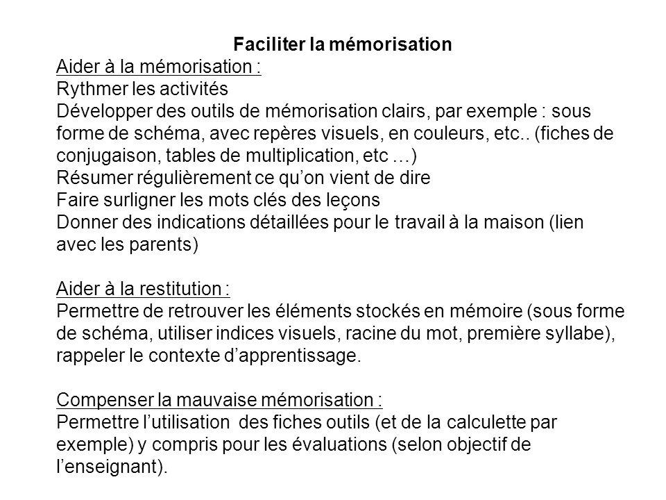 Faciliter la mémorisation Aider à la mémorisation : Rythmer les activités Développer des outils de mémorisation clairs, par exemple : sous forme de sc