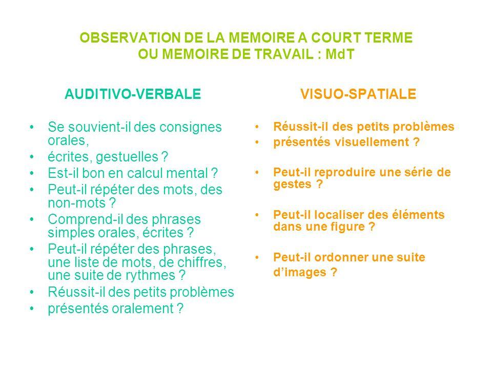 OBSERVATION DE LA MEMOIRE A COURT TERME OU MEMOIRE DE TRAVAIL : MdT AUDITIVO-VERBALE Se souvient-il des consignes orales, écrites, gestuelles ? Est-il