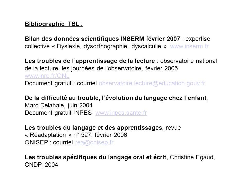 Bibliographie TSL : Bilan des données scientifiques INSERM février 2007 : expertise collective « Dyslexie, dysorthographie, dyscalculie » www.inserm.f