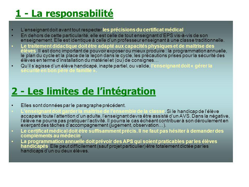 1 - La responsabilité Lenseignant doit avant tout respecter les précisions du certificat médical.