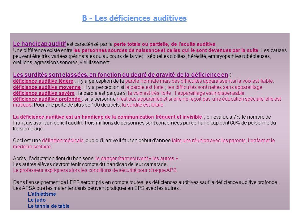 Le handicap auditif est caractérisé par la perte totale ou partielle, de lacuité auditive.