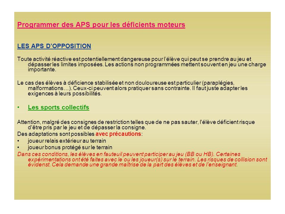Programmer des APS pour les déficients moteurs LES APS DOPPOSITION Toute activité réactive est potentiellement dangereuse pour lélève qui peut se prendre au jeu et dépasser les limites imposées.
