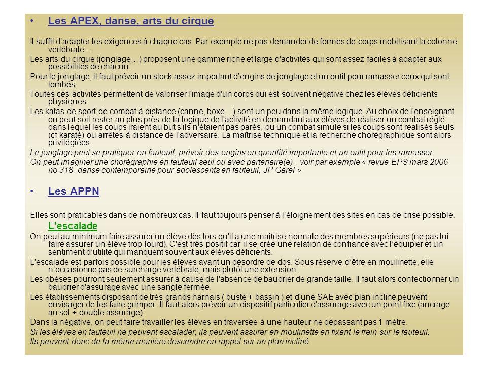 Les APEX, danse, arts du cirque Il suffit dadapter les exigences à chaque cas.