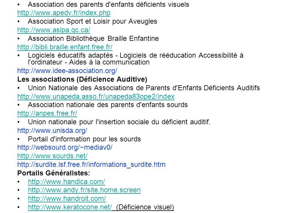 Association des parents d enfants déficients visuels http://www.apedv.fr/index.php Association Sport et Loisir pour Aveugles http://www.aslpa.qc.ca/ Association Bibliothèque Braille Enfantine http://bibli.braille.enfant.free.fr/ Logiciels éducatifs adaptés - Logiciels de rééducation Accessibilité à l ordinateur - Aides à la communication http://www.idee-association.org/ Les associations (Déficience Auditive) Union Nationale des Associations de Parents d Enfants Déficients Auditifs http://www.unapeda.asso.fr/unapeda83ope2/index Association nationale des parents d enfants sourds http://anpes.free.fr/ Union nationale pour l insertion sociale du déficient auditif.