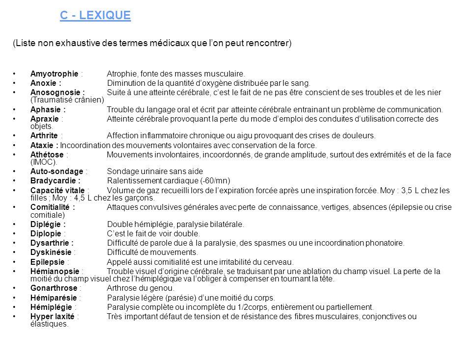 C - LEXIQUE (Liste non exhaustive des termes médicaux que lon peut rencontrer) Amyotrophie : Atrophie, fonte des masses musculaire.