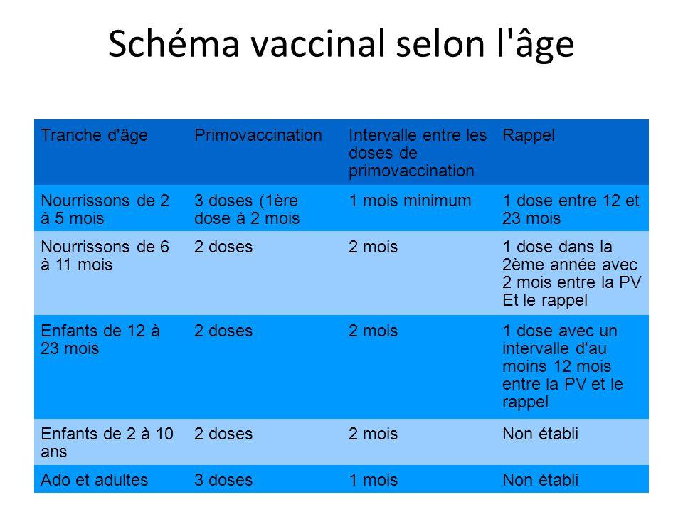 Schéma vaccinal selon l âge Tranche d ägePrimovaccinationIntervalle entre les doses de primovaccination Rappel Nourrissons de 2 à 5 mois 3 doses (1ère dose à 2 mois 1 mois minimum1 dose entre 12 et 23 mois Nourrissons de 6 à 11 mois 2 doses2 mois1 dose dans la 2ème année avec 2 mois entre la PV Et le rappel Enfants de 12 à 23 mois 2 doses2 mois1 dose avec un intervalle d au moins 12 mois entre la PV et le rappel Enfants de 2 à 10 ans 2 doses2 moisNon établi Ado et adultes3 doses1 moisNon établi