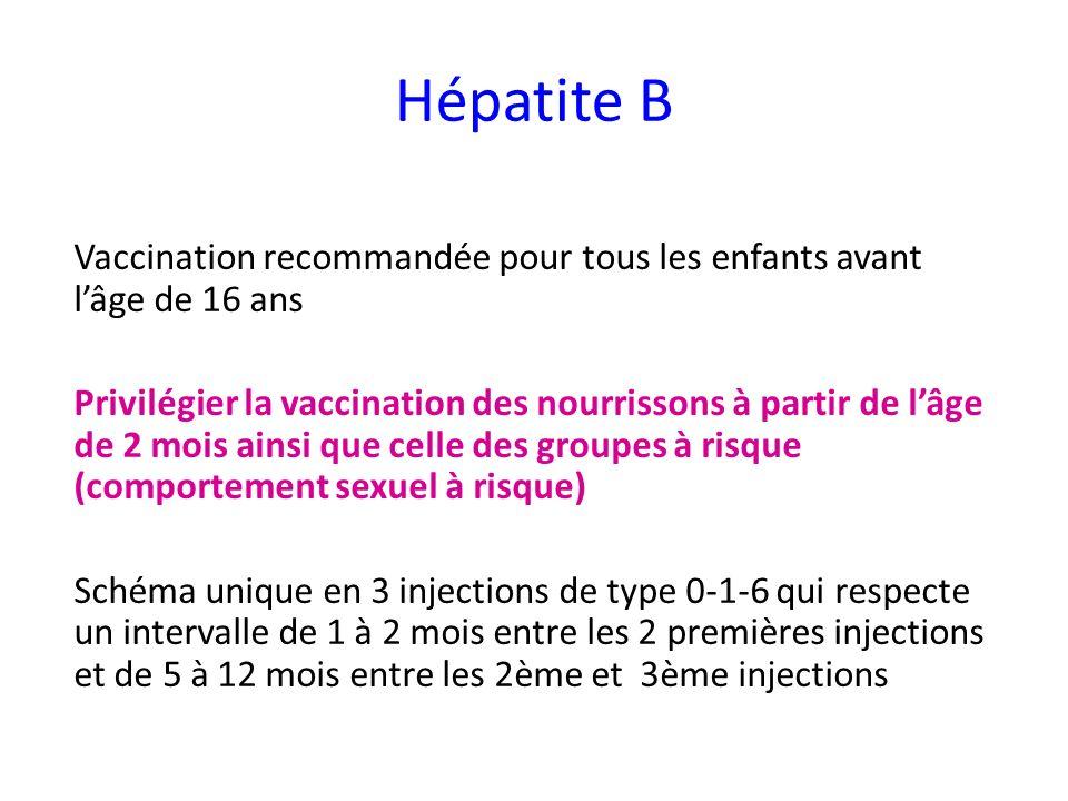 Hépatite B Vaccination recommandée pour tous les enfants avant lâge de 16 ans Privilégier la vaccination des nourrissons à partir de lâge de 2 mois ainsi que celle des groupes à risque (comportement sexuel à risque) Schéma unique en 3 injections de type 0-1-6 qui respecte un intervalle de 1 à 2 mois entre les 2 premières injections et de 5 à 12 mois entre les 2ème et 3ème injections