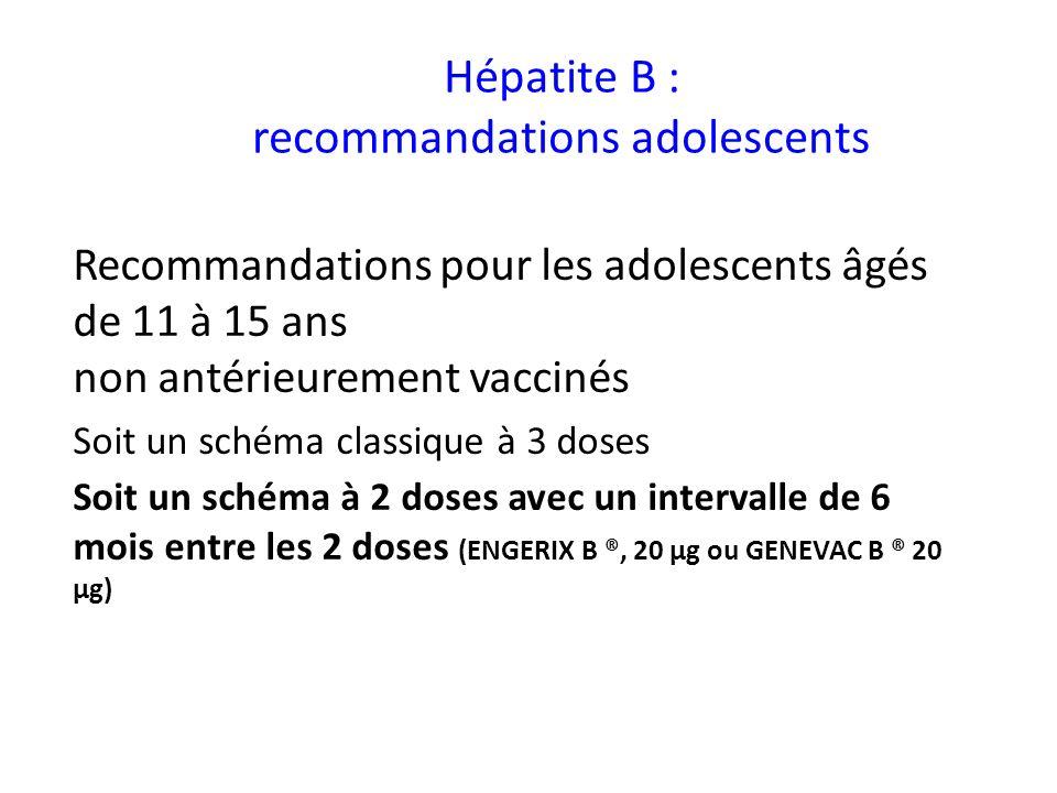 Hépatite B : recommandations adolescents Recommandations pour les adolescents âgés de 11 à 15 ans non antérieurement vaccinés Soit un schéma classique à 3 doses Soit un schéma à 2 doses avec un intervalle de 6 mois entre les 2 doses (ENGERIX B ®, 20 µg ou GENEVAC B ® 20 µg)