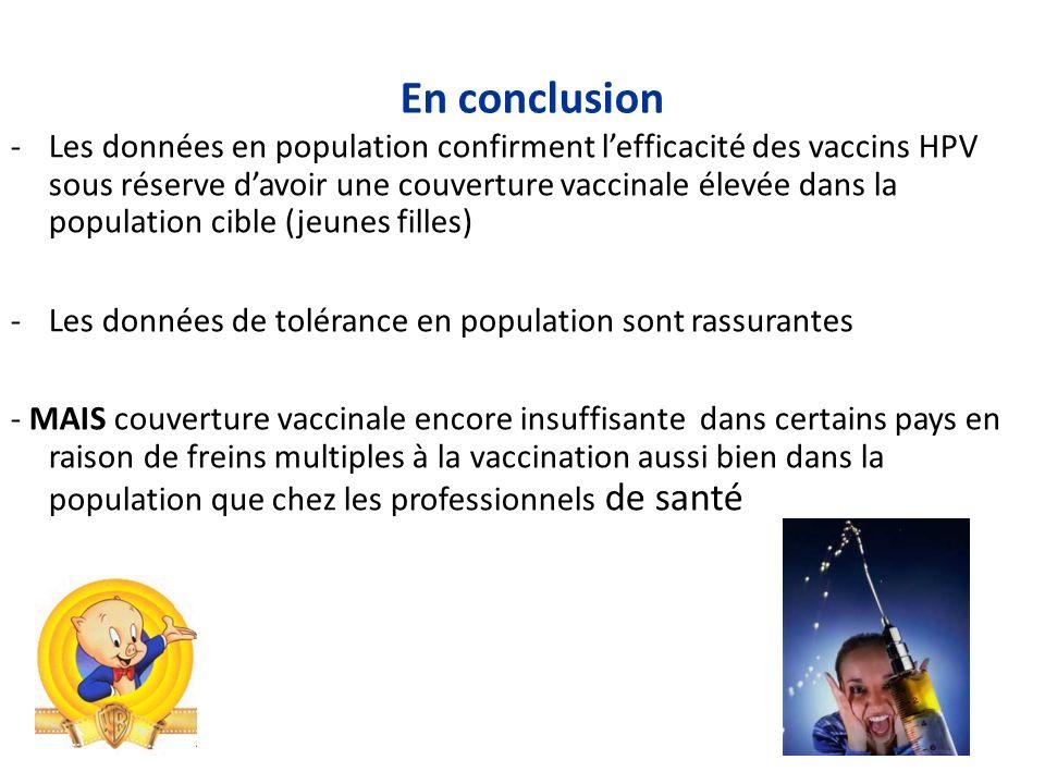 En conclusion -Les données en population confirment lefficacité des vaccins HPV sous réserve davoir une couverture vaccinale élevée dans la population cible (jeunes filles) -Les données de tolérance en population sont rassurantes - MAIS couverture vaccinale encore insuffisante dans certains pays en raison de freins multiples à la vaccination aussi bien dans la population que chez les professionnels de santé