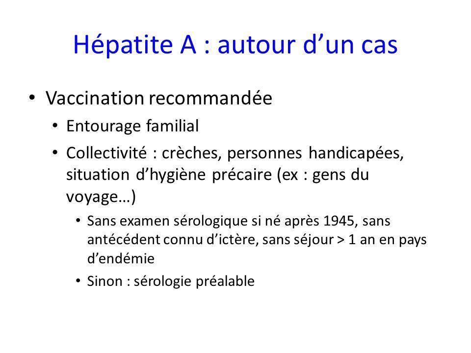 Hépatite A : autour dun cas Vaccination recommandée Entourage familial Collectivité : crèches, personnes handicapées, situation dhygiène précaire (ex