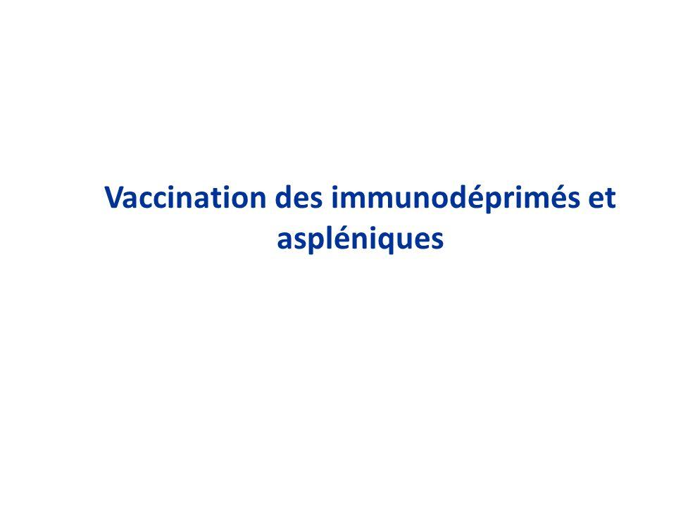 Vaccination des immunodéprimés et aspléniques