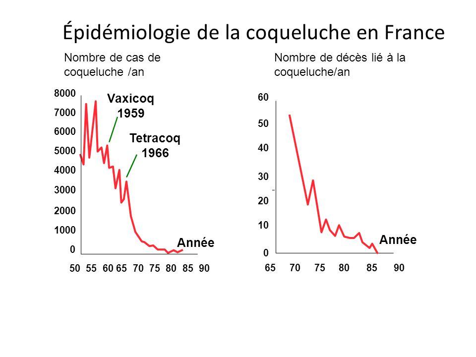 Épidémiologie de la coqueluche en France 65 70 75 80 85 90 Année 0 10 20 30 40 50 60 Vaxicoq 1959 Tetracoq 1966 Année 8000 7000 6000 5000 4000 3000 20