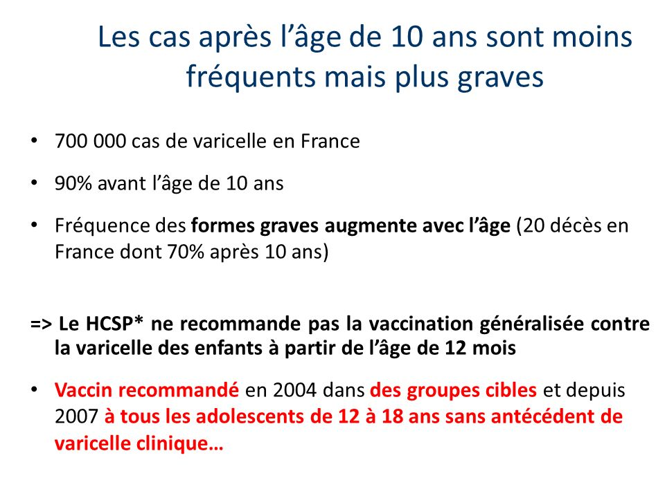 Les cas après lâge de 10 ans sont moins fréquents mais plus graves 700 000 cas de varicelle en France 90% avant lâge de 10 ans Fréquence des formes graves augmente avec lâge (20 décès en France dont 70% après 10 ans) => Le HCSP* ne recommande pas la vaccination généralisée contre la varicelle des enfants à partir de lâge de 12 mois Vaccin recommandé en 2004 dans des groupes cibles et depuis 2007 à tous les adolescents de 12 à 18 ans sans antécédent de varicelle clinique…