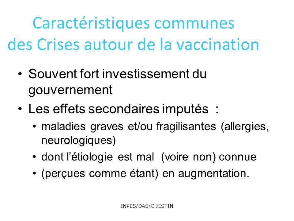 Caractéristiques communes des Crises autour de la vaccination Souvent fort investissement du gouvernement Les effets secondaires imputés : maladies gr