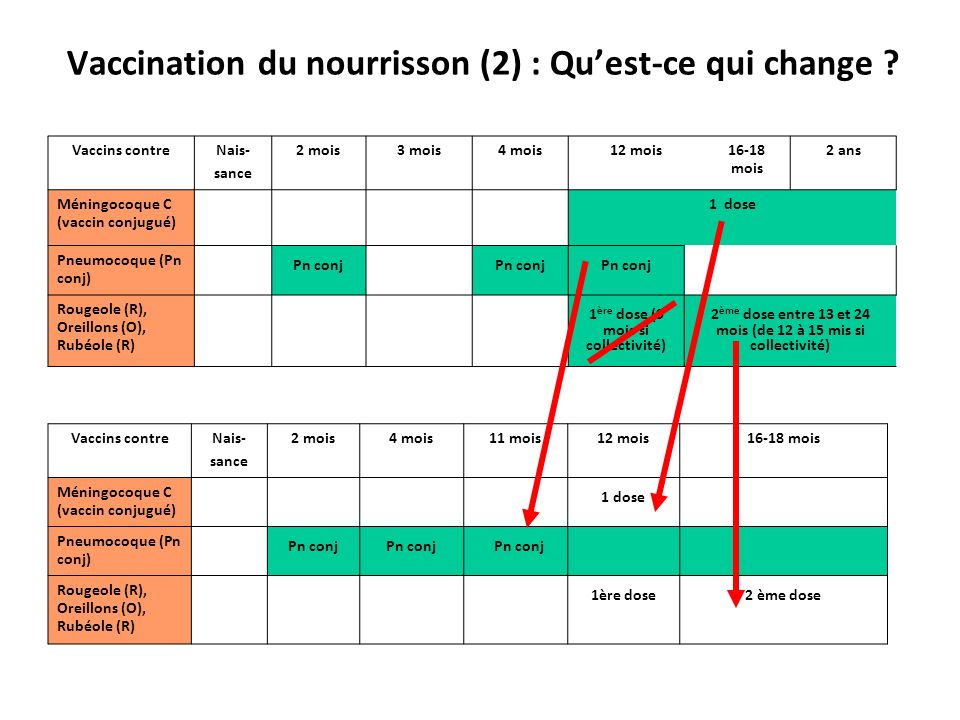 Vaccination du nourrisson (2) : Quest-ce qui change ? Vaccins contreNais- sance 2 mois3 mois4 mois12 mois16-18 mois 2 ans Méningocoque C (vaccin conju