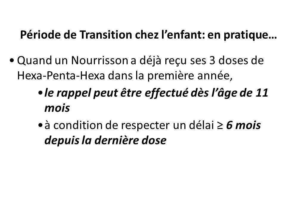 Période de Transition chez lenfant: en pratique… Quand un Nourrisson a déjà reçu ses 3 doses de Hexa-Penta-Hexa dans la première année, le rappel peut être effectué dès lâge de 11 mois à condition de respecter un délai 6 mois depuis la dernière dose