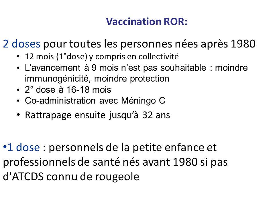 Vaccination ROR: 2 doses pour toutes les personnes nées après 1980 12 mois (1°dose) y compris en collectivité Lavancement à 9 mois nest pas souhaitabl