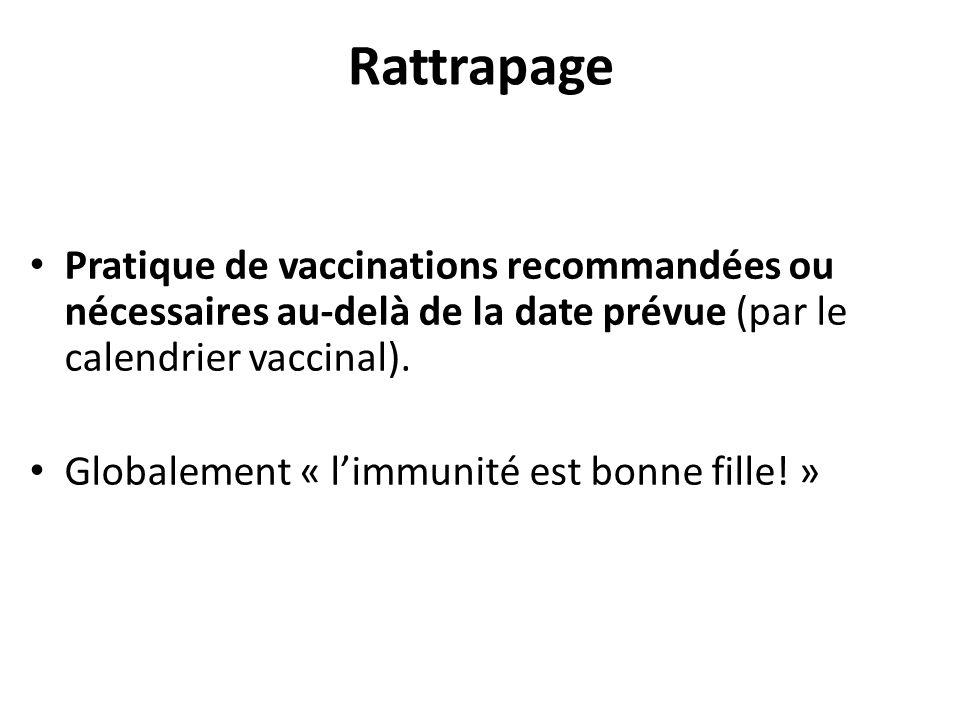 Rattrapage Pratique de vaccinations recommandées ou nécessaires au-delà de la date prévue (par le calendrier vaccinal). Globalement « limmunité est bo