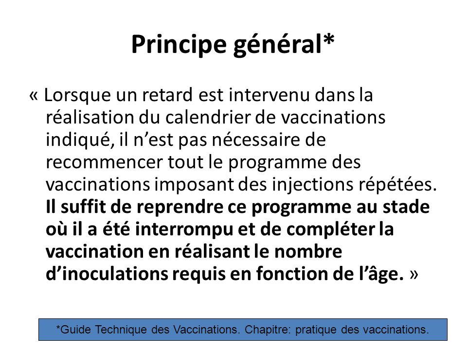 Principe général* « Lorsque un retard est intervenu dans la réalisation du calendrier de vaccinations indiqué, il nest pas nécessaire de recommencer tout le programme des vaccinations imposant des injections répétées.