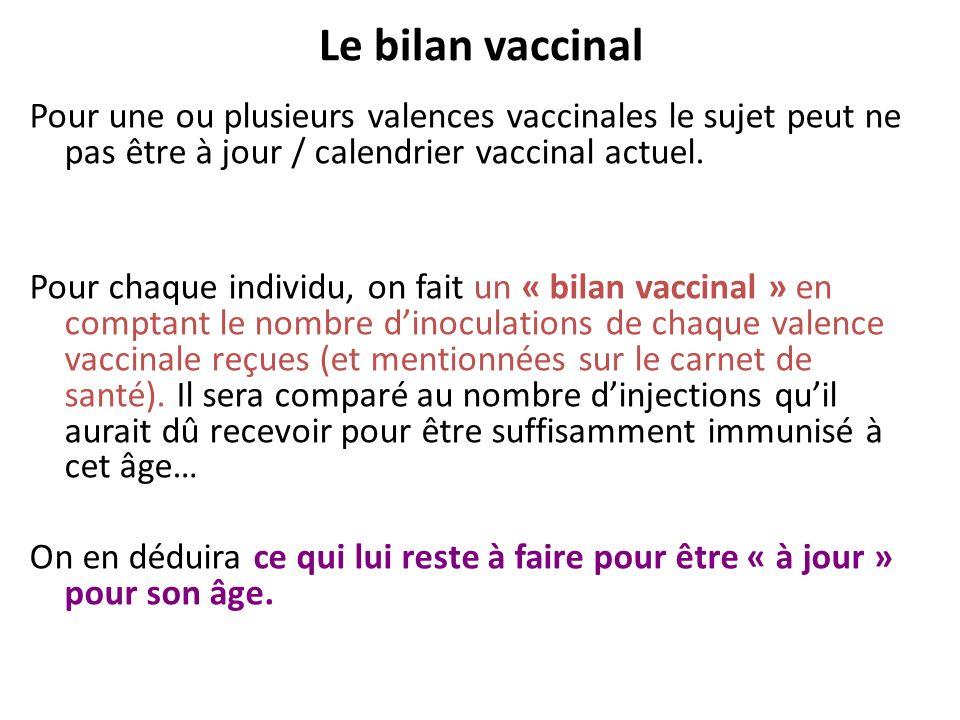 Le bilan vaccinal Pour une ou plusieurs valences vaccinales le sujet peut ne pas être à jour / calendrier vaccinal actuel. Pour chaque individu, on fa