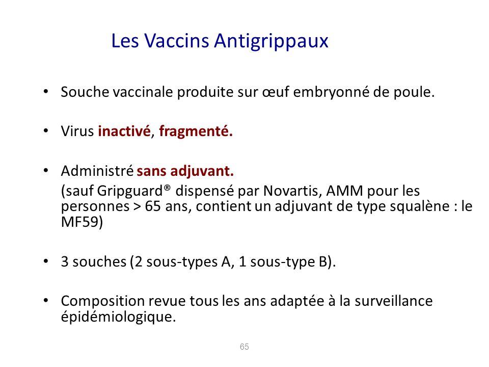 65 Les Vaccins Antigrippaux Souche vaccinale produite sur œuf embryonné de poule. Virus inactivé, fragmenté. Administré sans adjuvant. (sauf Gripguard