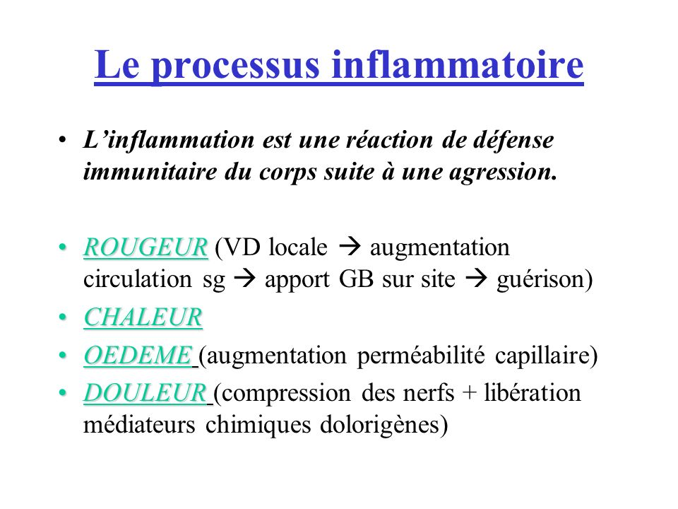Le processus inflammatoire Linflammation est une réaction de défense immunitaire du corps suite à une agression.