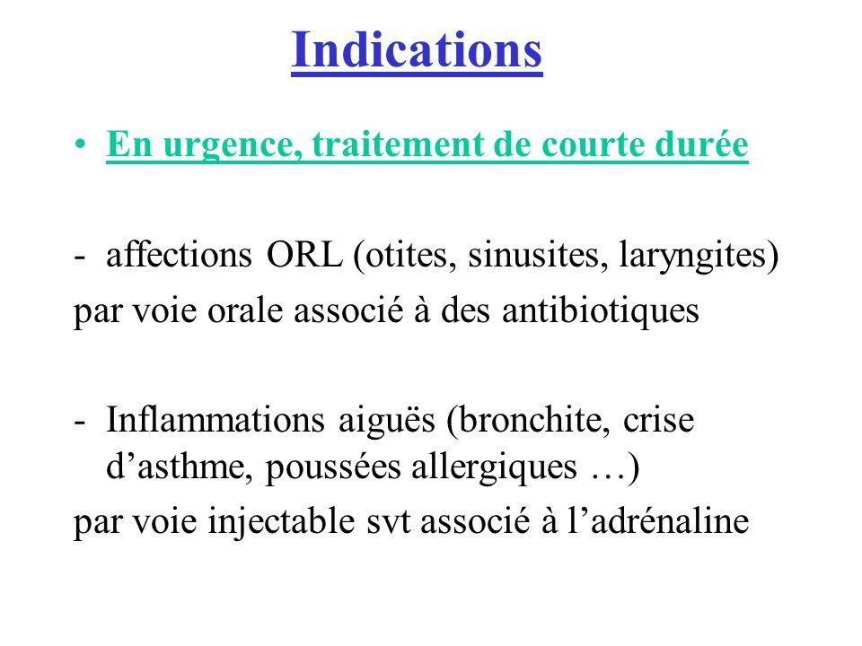 Indications En urgence, traitement de courte durée -affections ORL (otites, sinusites, laryngites) par voie orale associé à des antibiotiques -Inflammations aiguës (bronchite, crise dasthme, poussées allergiques …) par voie injectable svt associé à ladrénaline