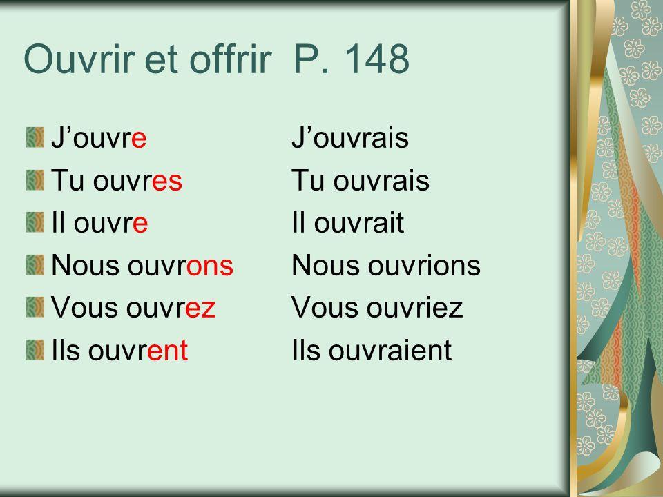 Ouvrir et offrir P. 148 JouvreJouvrais Tu ouvresTu ouvrais Il ouvreIl ouvrait Nous ouvronsNous ouvrions Vous ouvrezVous ouvriez Ils ouvrentIls ouvraie